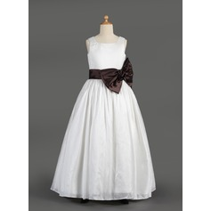 A-Line/Princess Square Neckline Floor-Length Taffeta Junior Bridesmaid Dress With Sash Bow(s)