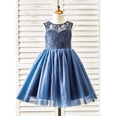 Ball Gown Knee-length Flower Girl Dress - Tulle/Lace Sleeveless Scoop Neck