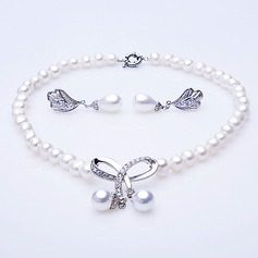 """Bowknot Pearl/""""A"""" Level Pearl Ladies' Jewelry Sets"""