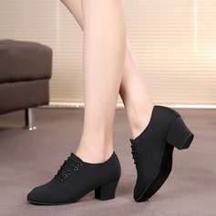 Women's Canvas Heels Pumps Modern Dance Shoes