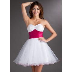 Empire Sweetheart Short/Mini Tulle Homecoming Dress With Sash Beading