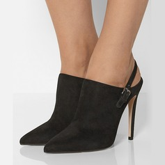 Women's Suede Stiletto Heel Ankle Boots With Hollow-out shoes