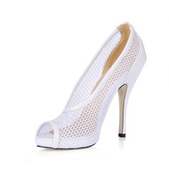 Women's Leatherette Stiletto Heel Peep Toe Pumps Sandals