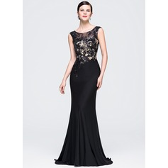 Trumpet/Mermaid Scoop Neck Sweep Train Lace Jersey Evening Dress With Sequins