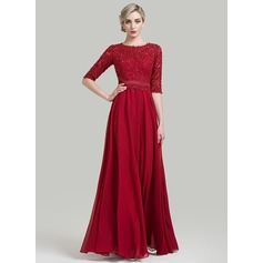 A-Line/Princess Scoop Neck Floor-Length Chiffon Evening Dress With Beading Sequins (017092351)