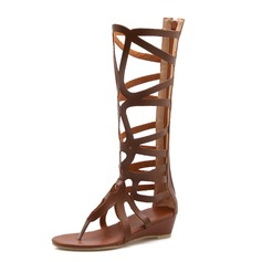 Women's Leatherette Low Heel Sandals Mid-Calf Boots With Zipper shoes