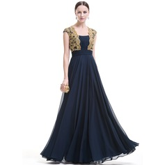 A-Line/Princess Square Neckline Floor-Length Chiffon Evening Dress With Ruffle Beading Appliques Lace Sequins