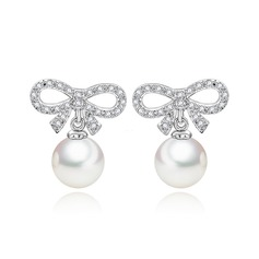 Beautiful Pearl/Zircon/Platinum Plated Ladies' Earrings