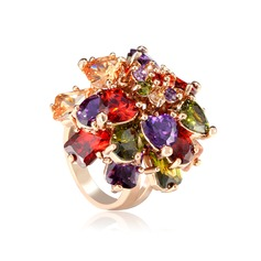 Beautiful Copper/Zircon/Rose Gold Plated Ladies' Rings