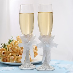 Toasting Flutes With Ribbon Bow