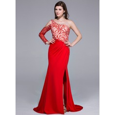 Trumpet/Mermaid One-Shoulder Sweep Train Charmeuse Jersey Prom Dress With Beading Split Front