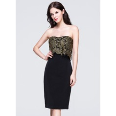 Sheath/Column Sweetheart Knee-Length Lace Evening Dress