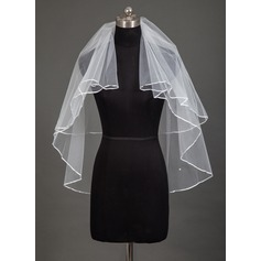 Two-tier Pencil Edge Fingertip Bridal Veils With Beading
