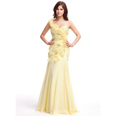 A-Line/Princess One-Shoulder Floor-Length Chiffon Prom Dress With Ruffle Beading Flower(s) Sequins