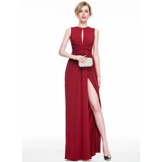 Sheath/Column Scoop Neck Floor-Length Jersey Evening Dress With Ruffle Bow(s) Split Front
