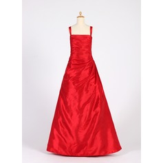 A-Line/Princess Square Neckline Floor-Length Taffeta Junior Bridesmaid Dress With Ruffle