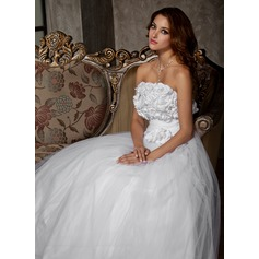 A-Line/Princess Strapless Floor-Length Tulle Wedding Dress With Ruffle Flower(s)