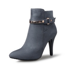 Women's Leatherette Stiletto Heel Platform Closed Toe Ankle Boots With Buckle shoes