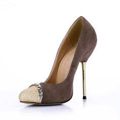 Suede Sparkling Glitter Stiletto Heel Pumps Closed Toe With Chain shoes