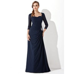 A-Line/Princess Sweetheart Sweep Train Chiffon Mother of the Bride Dress With Ruffle Beading