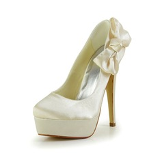 Women's Satin Stiletto Heel Closed Toe Platform Pumps With Bowknot
