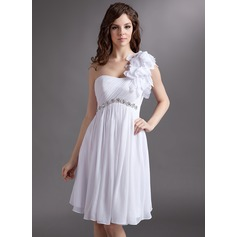 Empire One-Shoulder Knee-Length Chiffon Homecoming Dress With Ruffle Beading Flower(s)
