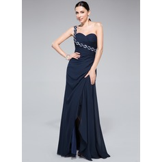 Sheath/Column One-Shoulder Floor-Length Chiffon Prom Dress With Ruffle Beading Split Front