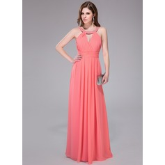 A-Line/Princess Scoop Neck Floor-Length Chiffon Holiday Dress With Ruffle Beading Sequins