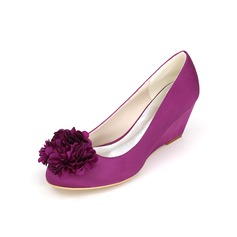 Women's Satin Wedge Heel Closed Toe Pumps Wedges With Flower