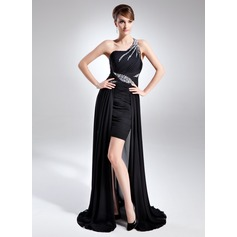 A-Line/Princess One-Shoulder Asymmetrical Chiffon Mother of the Bride Dress With Ruffle Beading