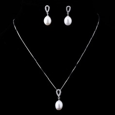 Elegant Pearl/Sterling Silver Ladies' Jewelry Sets (011042007)