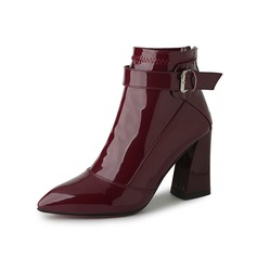 Women's Patent Leather Chunky Heel Ankle Boots With Buckle shoes