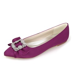 Women's Satin Flat Heel Closed Toe With Bowknot