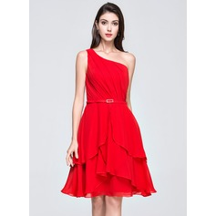 A-Line/Princess One-Shoulder Knee-Length Chiffon Homecoming Dress With Ruffle Crystal Brooch Cascading Ruffles