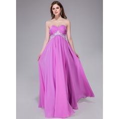 Empire Sweetheart Floor-Length Chiffon Prom Dress With Ruffle Sash Beading Appliques Lace Sequins