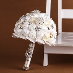 Elegant Round Satin Bridal Bouquets (123069384)