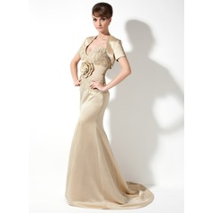 Trumpet/Mermaid Sweetheart Court Train Satin Mother of the Bride Dress With Lace Flower(s) Split Front