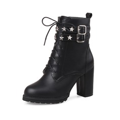 Leatherette Chunky Heel Platform Closed Toe Ankle Boots With Rivet Buckle Braided Strap shoes