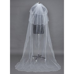 Three-tier Chapel Bridal Veils With Scalloped Edge