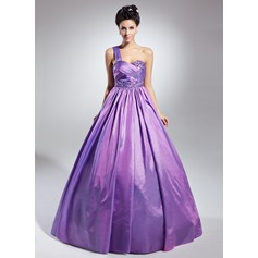 Ball-Gown One-Shoulder Floor-Length Taffeta Quinceanera Dress With Ruffle Beading