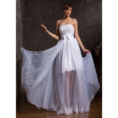 A-Line/Princess Sweetheart Floor-Length Organza Prom Dress With Lace Beading Bow(s)