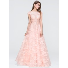 Ball-Gown Square Neckline Floor-Length Lace Prom Dress