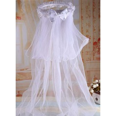 Tulle/Lace With Imitation Pearls/Rhinestones/Bow/Flower Flower Girl/Communion Veils