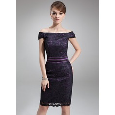 Sheath/Column Off-the-Shoulder Knee-Length Charmeuse Lace Mother of the Bride Dress