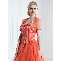 Short Sleeve Charmeuse Tulle Special Occasion Wrap