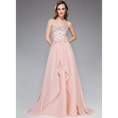 A-Line/Princess Sweetheart Sweep Train Chiffon Prom Dress With Beading Sequins Cascading Ruffles