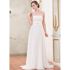 A-Line/Princess Strapless Sweep Train Chiffon Wedding Dress With Ruffle Beading
