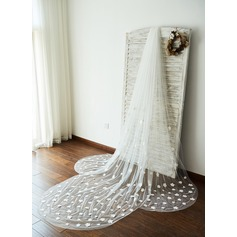 One-tier Cut Edge Cathedral Bridal Veils With Applique