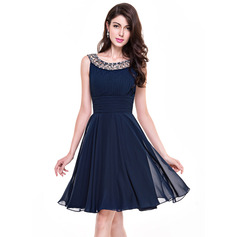 A-Line/Princess Scoop Neck Knee-Length Chiffon Cocktail Dress With Ruffle Beading (016065518)