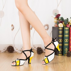 Women's Patent Leather Heels Sandals Pumps Latin With Ankle Strap Dance Shoes